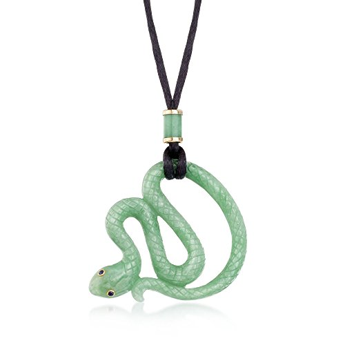 Ross-Simons Green Jade Snake Pendant Necklace With Black Satin Cord
