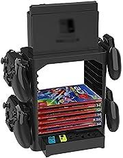 TwiHill Suporte de armazenamento multifuncional para switch Nintendo, suporte de host de interruptor de suporte de disco, suporte de disco de acessórios de switch Nintendo