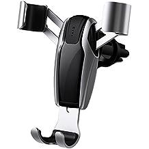 Car Phone Holder, Gravity Universal Air Vent Phone Mount Stable Car Cradle Mount for iPhone X/ 8/ 7/ 6s/ Plus, iPad Air 2/ mini 3, Galaxy S8 S7 S6 Edge, Note 8/ 5/ 4, LG/ G6/ V20, Nexus- Gray ( DIVI )