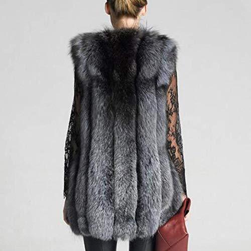 De Piel Chaqueta Ropa Piel Piel Sleeveless Otoño Tallas Caliente Noble Chaleco Abrigos Basic Grau Chalecos Mullido Outwear Invierno Grandes Casual Mujer Elegantes Anchas De Fashion Sintética FRnxBf