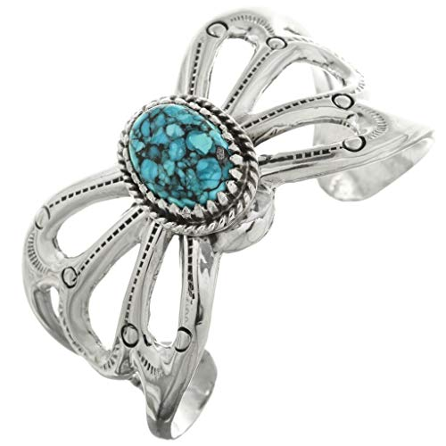 Spiderweb Turquoise Ladies Old Pawn Style Cuff Navajo Sterling Bracelet 0192