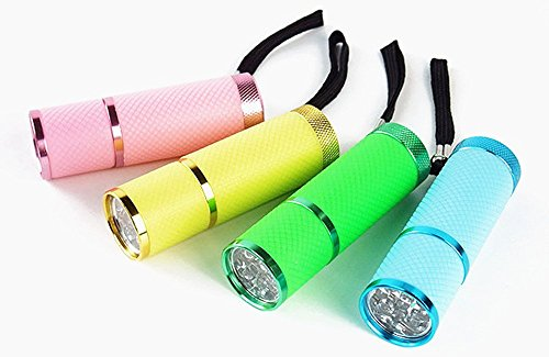 Adecco LLC 9 LED Glow in Dark Rubber Coated Push Button Flashlights with Straps, Pack of 4 (1)