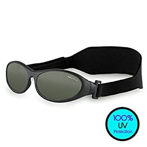 Toddler Sunglasses (UVA UVB Protection) – BabyWrapz Kids Sunglasses Age 2 & Younger w/ Soft, Adjustable Strap for No-Fuss Comfort,Black