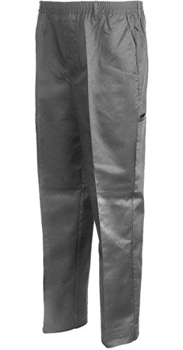 Benefit Wear Mens Full Elastic Waist 5-Pocket Pants with Mock Fly (L, Grey) ()
