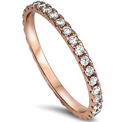 Oxford Diamond Co New Rose Gold Plated Cz Eternity Style Band .925 Sterling Silver Ring Size 5