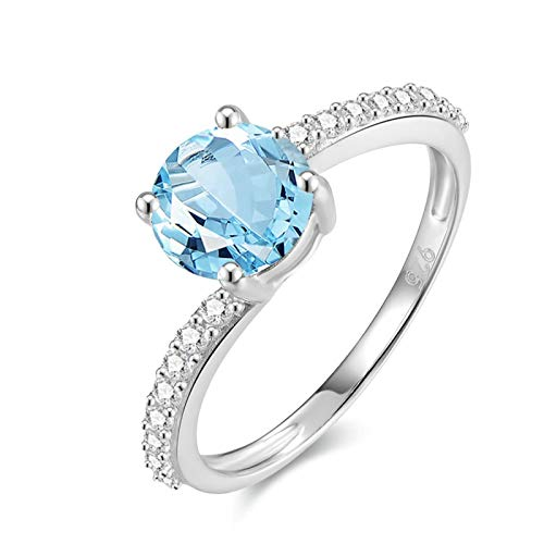 - KnSam Topaz Dia.7MM Round Cut Sterling Silver Jewelry Ring for Women Fashion Size 4