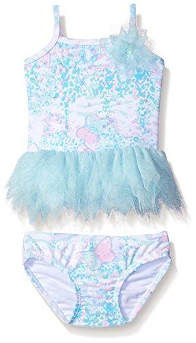 Kate Mack Baby Girls' Flitter Flutter Tankini Swimsuit, Aqua, 6 - Tankini Kate Mack Nylon