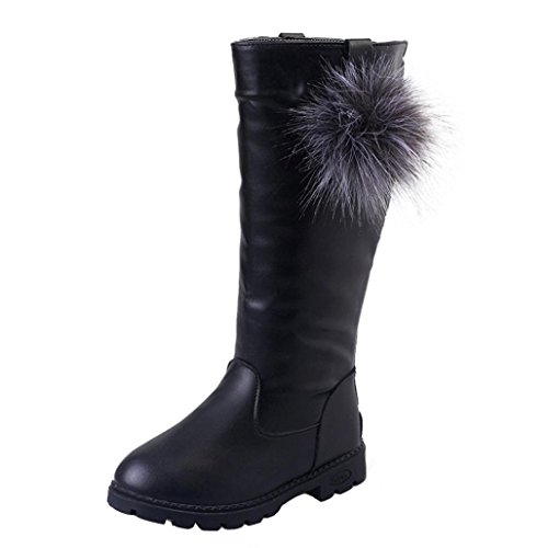 TPulling Herbst Und Winter Mädchen Mode Hohe Stiefel Verdickung Schneestiefel Schwarz