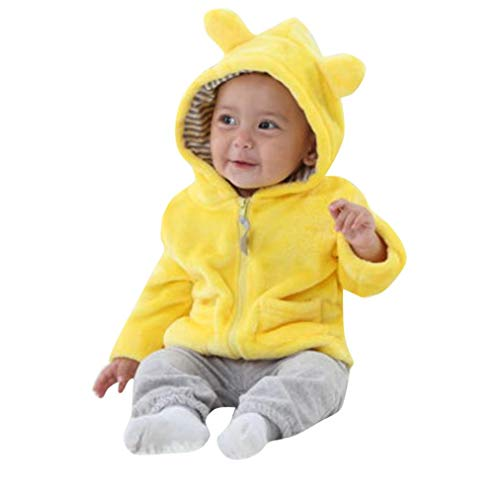 New!!Toddler Baby Keep Warm Hooded Coat,Newborn Boys Snowsuit Girls Boys Long Sleeves Clothes (12M, Yellow)