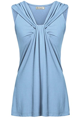 Nandashe Light Blue Tank Top Women, Feminine Casual Elegant Notch Neck Wrap Sleeveless High Low Hem Pleated Front Pure Color Comfortable Laying Tunic Camis for Denim Jeans L IZE 10 ()