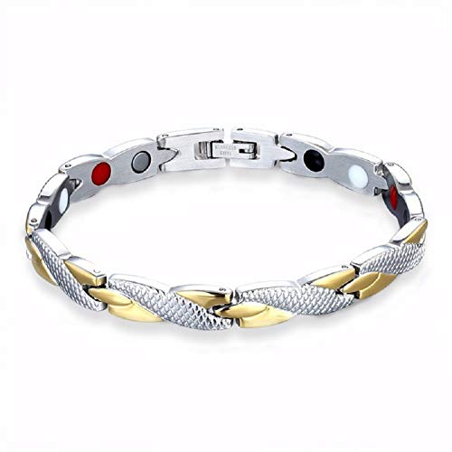 - Extra Germanium Strength Magnetic&Negative-ions Therapy 316L Stainless Steel Bracelets for Men Health Stress Relief Wristband [Free Links Removal Tool] (Dragon-Gold)
