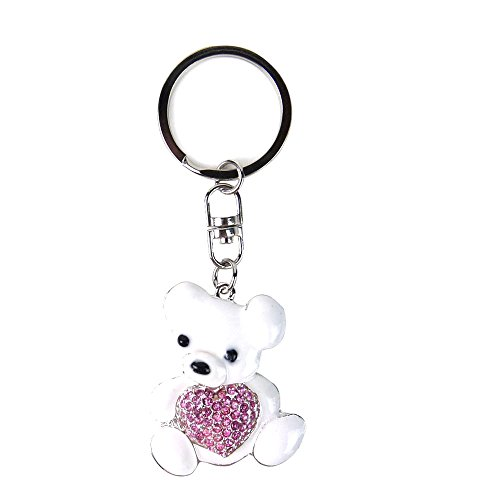 Bear Gem (JAVOedge White Teddy Bear with Gemstone Heart Stylish Keychain / Keyring)