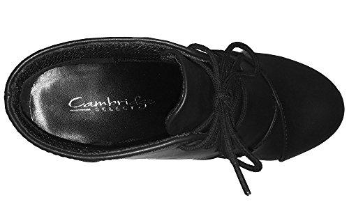 Cambridge Selezionare Donna Oxford Punta Rotonda Allacciata Con Zeppa Avvolta Stivaletto Alla Caviglia Nero Pu