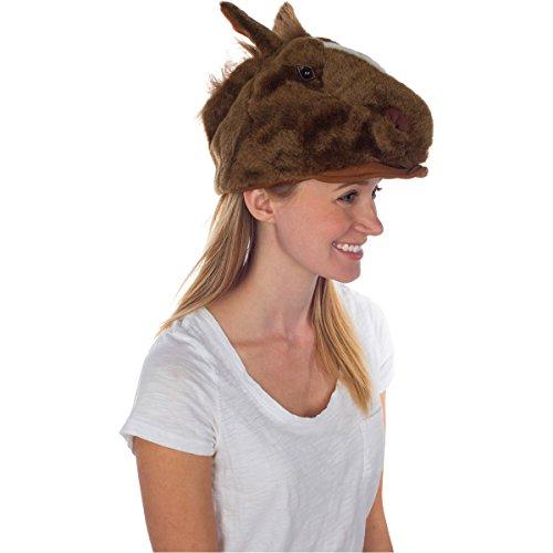 [Furry Horse Animal Hat, Realistic Plush Costume Headwear - One Size] (Horse Costume Head)
