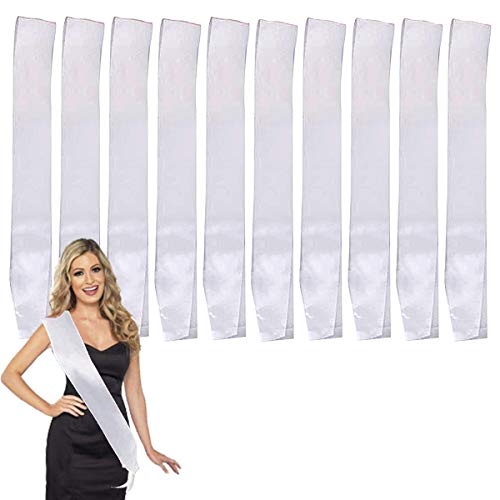 LIGONG 10 Pcs Blank Sashes Plain Sashes for Party Decoration, DIY Accessory, Homecoming, Wedding, 9.5cm x 78cm