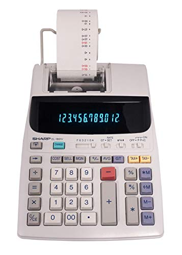 Sharp EL-1801V Two-Color Printing Calculator 2.1 Lines/Sec 4' Black/Red