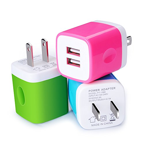 Dual USB Wall Charger, Kakaly 3Pack 2.1A Home Travel Rapid USB Power Adapter Wall Charger Plug Compatible for iPhone 7 6 6S, iPad, Samsung Galaxy, Note, Nexus, HTC, Oneplus, Google, Motorola, Sony