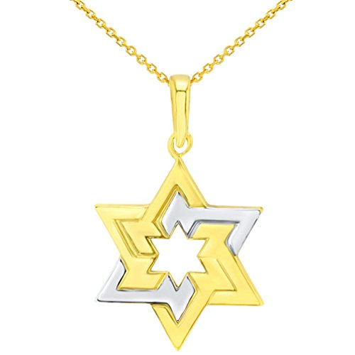 14K Yellow Gold Seal of Solomon Star of David Pendant Necklace, 20