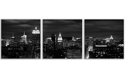 QICAI Wall Art Painting Beautiful New York City Skyline Black