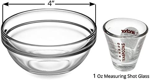 Baking Cooking and More. Prepping 3 Small Glass Prep Mixing Bowls and 2 Shot Glass Measuring Cup 5 Pc Set Mixing Perfect for Measuring