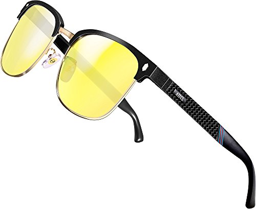 ATTCL HD Night Vision Driving Glasses For Mens And Women Sunglasses Al-Mg Metal Frame Ultra Light 8188 yeshi