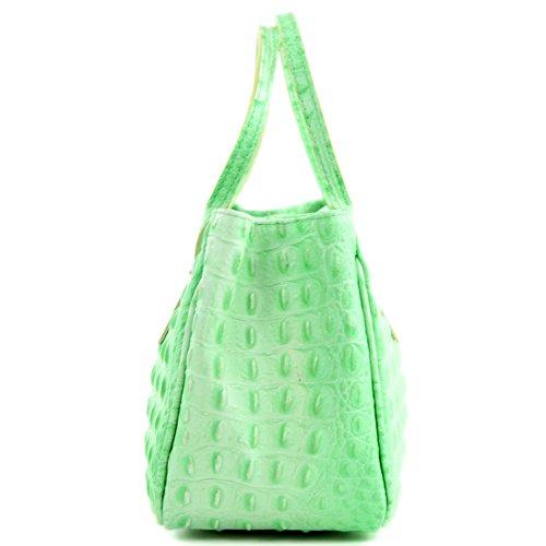 mini Kroko Sac petit cabas cuir main sac femme TL03 italien sac en sac croco à Hellgrün wxxERr