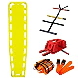 First Responder EMT Backboard Spine Board Stretcher Immobilization with Head Bed and Spider Straps - Gift EMT Trauma Bag (Yellow)