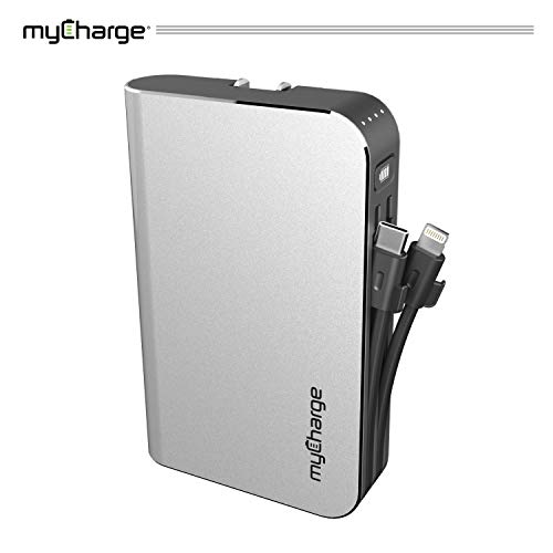 myCharge Portable Charger Power Bank - HubMax Universal 10050 mAh External Battery Pack | Wall Charger Foldable Plug | Built in Cables (iPhone Charger Lightning Cable and Android Samsung USB C) (Universal Wall Charger Battery)