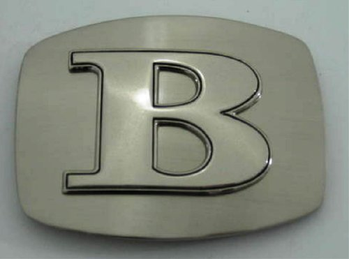 Initial Letter B Western Style Cowboy Rodeo Silver Costume Halloween Belt Buckle]()