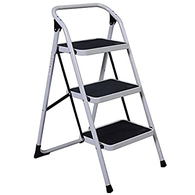 Portable 3 Step Ladder with 330lbs Capacity Platform Lightweight Short Handrail Iron Folding Stool
