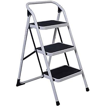 Rovsun 3 Step Iron Ladder With Handrail Humanity Slippery