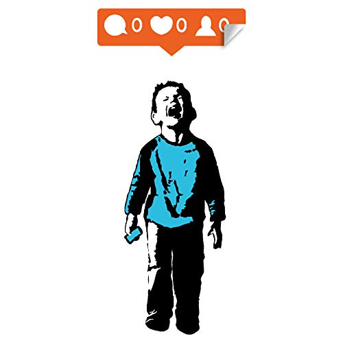 Banksy Crying Boy Wall Sticker - Street Art Graffiti Facebook Social Media Decal - Kid with Cellphone Hand Phone Laptop Mac Mural Die Cut