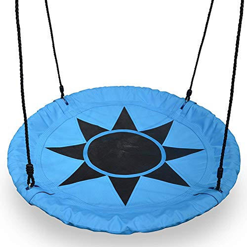 Play Platoon Flying Saucer Tree Swing - 400 lb Weight Capacity, Fully Assembled, Easy to Install (Install A Permeable Patio)