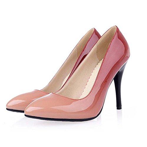 primavera vestido tacón mujer de otoño charol para Rojo rojo verano negro almendra de amarillo de Zapatos el aguja 07I1nx1