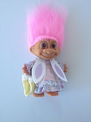 Russ Berrie Spring Girl Troll Wearing Easter Outfit and Bunn