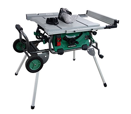 Hitachi C10RJ 10″ 15-Amp Jobsite Table Saw with 35″ Rip Capacity and Fold and Roll Stand