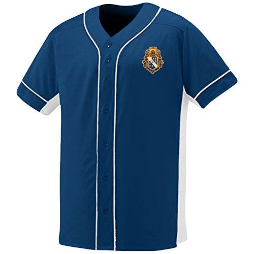Alpha Phi Omega Fraternity Crest Slugger Baseball Jersey 2X-Large Navy/White