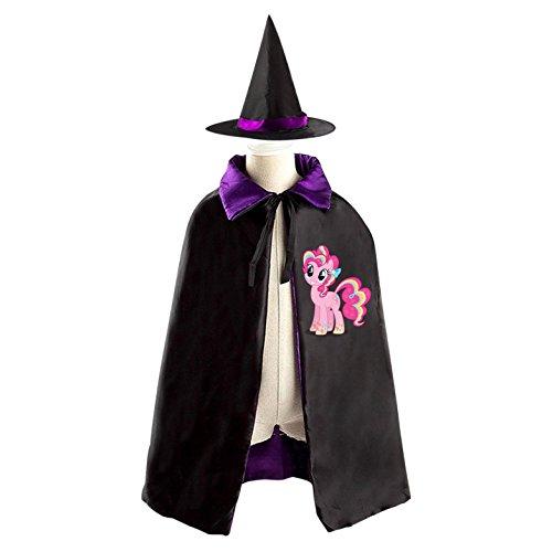 Purple Halloween Man Pie Costume (Halloween Wizard Witch Pinkie Pie Reversible Cape With Hat Kids Halloween Party)