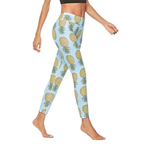 Fredysu Comfy Yoga Pants, High Waist Workout Leggings for Women, Ultra Soft Printed Leggings, Slim Running Tights Blue