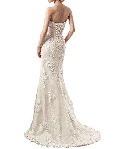Sexy Hochzeitskleider Spitze Applikationen Hochzeitskleid Brautkleider Tüll CoCogirls Hofzug Strand Trägerlos Elfenbein nw8qq0X