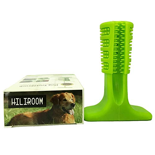 HILIROOM Doggy Brushing Stick, Chew Dog Toothbrush, Nontoxic Bite Resistant Rubber Chew Cleaning Interactive Dental Hygiene Brushes for Small to Medium Dogs-7x3x10cm,(Green) by HILIROOM