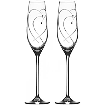 Royal Doulton Promises Two Hearts Entwined Flute Pair Clear