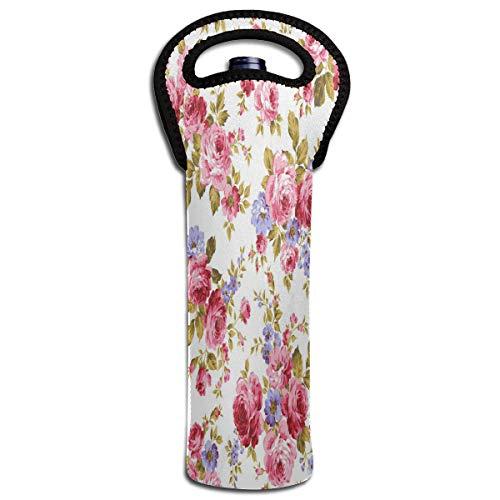 Wine Bag Rose Flower 1 Bottle Red Wine Tote Bag Protective Single Water Handle -