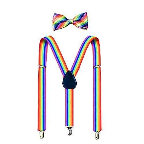 Suspenders For Men,Women Adjustable Suspends Bow Tie Set Solid Color Y Shape (Colorful) ()