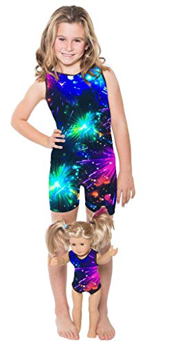 Delicate Illusions Girl Gymnastics Unitard Biketard Matching 18 Inch Doll Leotard S (4-5 yrs) Fireworks