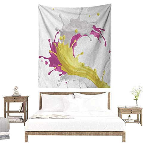 WilliamsDecor Hall Tapestry Colorful Mixed Fruit Drink Splash Photo Strawberry Banana Milk Sweet Fountain 40W x 60L INCH Suitable for Living Room, Bedroom, Beach
