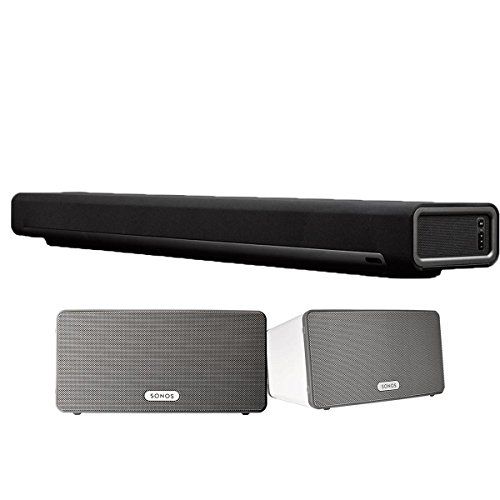 Sonos Multi-Room Digital Music System Bundle (PLAYBAR & (2) PLAY:3 Speakers – White)