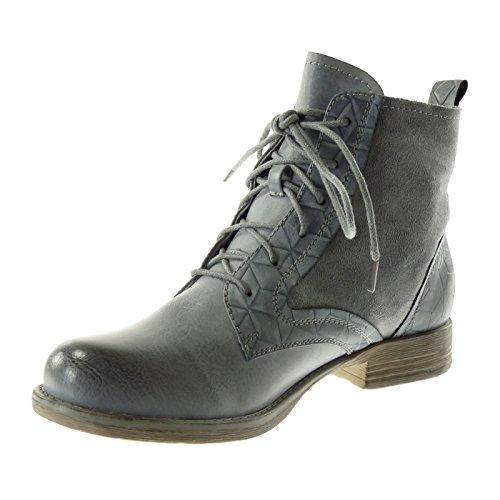 Angkorly Women's Fashion Shoes Ankle Boots - Booty - Combat Boots - Cavalier - Bi Material - Crocodile - Rhinestone - Shiny Block Heel 3 cm Blue 6MekixoC5x