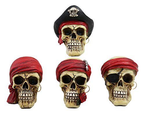 Ebros Set of Four Pirate Captain Marauders Skull Mini Figurines 3.5