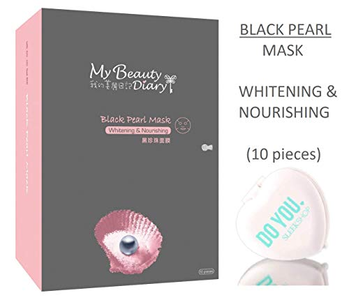 MY BEAUTY DIARY Facial Sheet Mask, BLACK PEARL MASK, Whitening & Nourishing (with Sleek Compact Mirror) #1 Selling Face Mask in Asia, Super Ultra-Thin Masque (Black Pearl - 10 piece) ()
